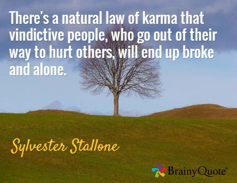 There's a natural law of karma that vindictive people, who go out of their way to hurt others, will end up broke and alone. / Sylvester Stallone