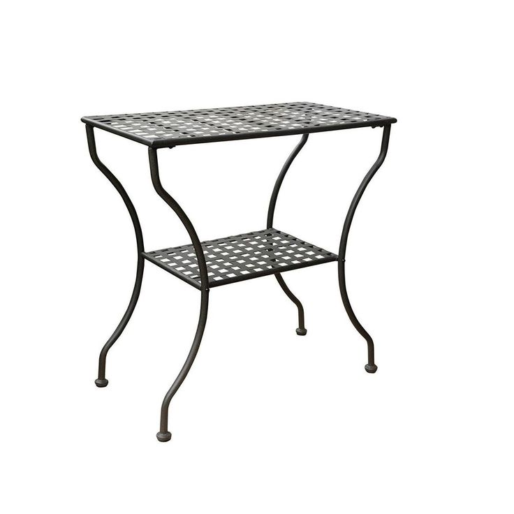 Patio Side Table Wrought Iron Antique Black All Weather Water Resistant Outdoor #InternationalCaravan #Transitional