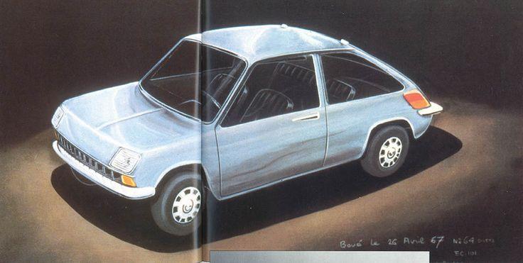 OG | 1972 Renault 5 | Michel Boué's design sketch dated Apr. 1967