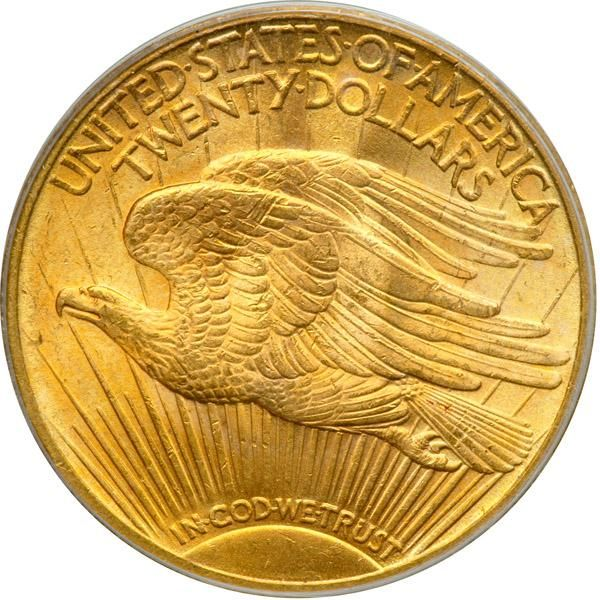 """1920-S $20 St. Gaudens. PCGS MS64 In a new PCGS shield holder. Well struck and frosty with hues of golden-orange and olive. We are pleased as can be to have been awarded this extremely rare coin for auction. Throw away the mintage figures since, of the 558,000 struck, perhaps no more than a few score survive today in all grades. The rest were melted or otherwise lost. This date is so rare that Breen estimated the number to survive at 8-12 when he compiled the information for his Encyclopedia in the 1970s (the book was published in 1988). Today, with the advantage of the PCGS and NGC Population Reports a fair number (but not a large number) have been graded by PCGS and NGC services. The census no doubt includes some duplication between them, so the total might be adjusted downward. This attractive MS64 is one of the best, as PCGS reports only 13 this high, with four graded higher! Carefully struck for the date, with full details on the devices, and just a minor scattering of ticks limiting this from full gem status. Identifiable by a small above the 20 in the date and another, among several, below the lowermost leaves of the branch in Liberty's outstretched hand. Also a couple of parallel scuffs on the upper curve of one wing on the reverse. Booming luster and a wonderful example for the specialist to purchase for a date set. One of the centerpieces among the double eagle offerings in this sale, we feel it is destined for similar distinction in an advanced collection of this beautifully rendered gold series. . The history of this 1920-S issue is sad but interesting. As is the case with other $20 gold pieces struck during the Roaring 'Twenties and early 'Thirties, mainly these were stored in bank vaults as backing for checking account deposits and Gold Certificates, the principal """"hard money"""" back then. Gold $20s and gold bars were also the principal export medium in hard-money specie payments for imports. People have forgotten that under a gold standard (which ended """