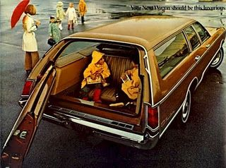 Sitting backwards in the station wagon