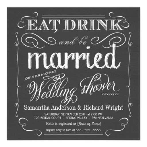 Chalkboard Couples Wedding Shower Invitations  | Visit the Zazzle Site for More: http://www.zazzle.com/?rf=238228028496470081