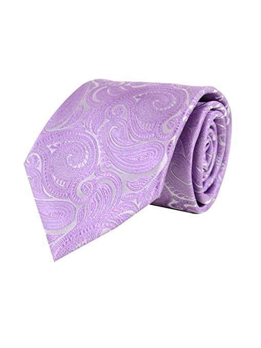 New Brand Q Men/'s Micro Fiber formal Neck Tie /& Hankie Set Paisley purple