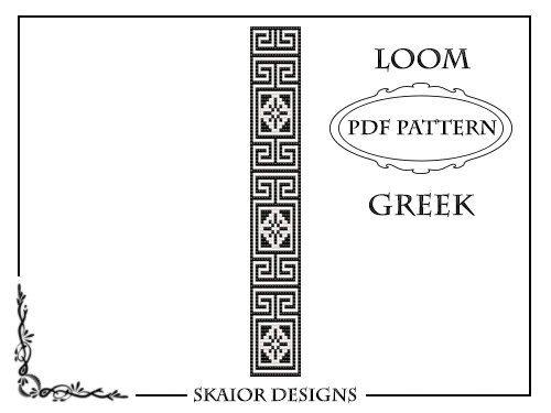Greek Key Loom Beading Pattern Bracelet or Square Stitch #
