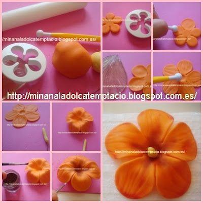 Os dejamos el pap de una flor muy sencilla!! Espero que os guste!!   Hibiscus flower fondant tutorial sugarpaste