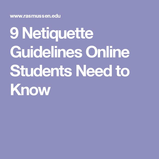 9 Netiquette Guidelines Online Students Need to Know ...