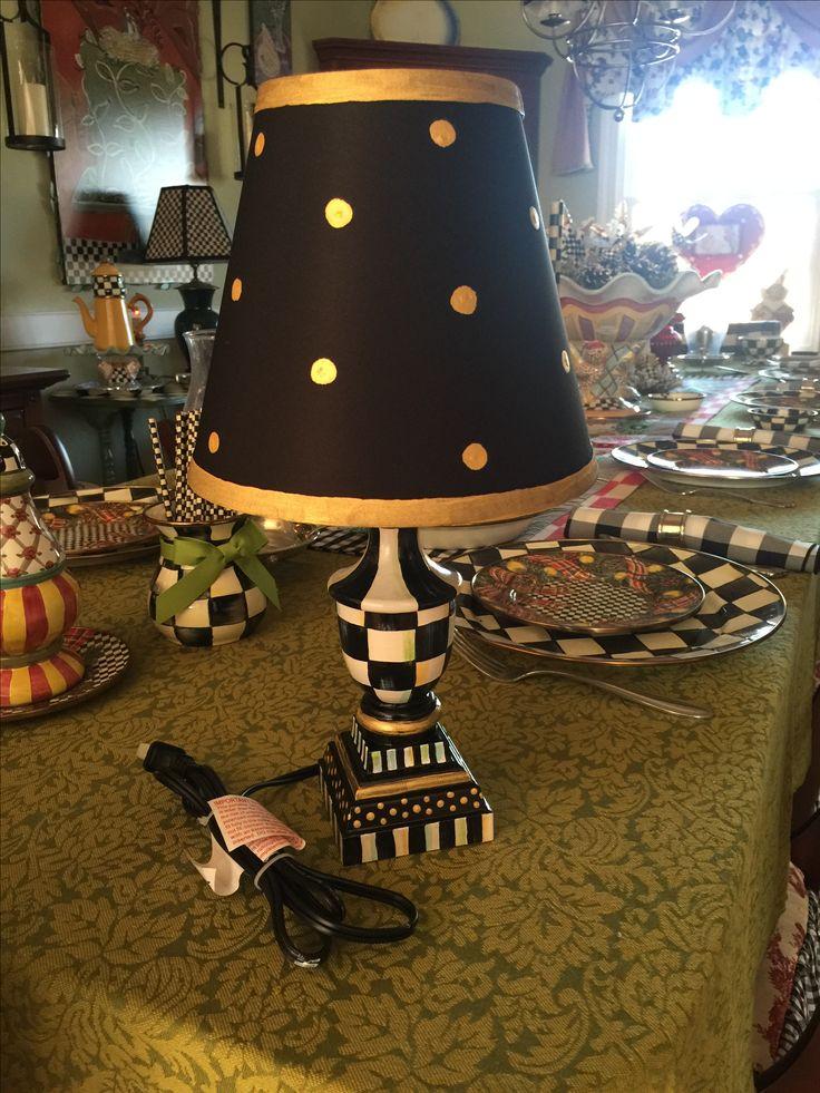 Hand painted lamp and shade mackenzie childs paper napkin