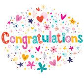 Congratulations typography lettering decorative text card design Royalty Free Stock Image