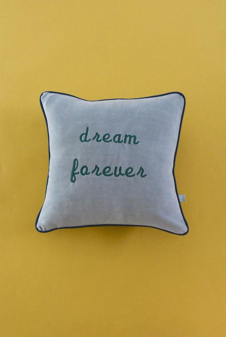 Dream forever typography.. Embroidered velvet cushion..