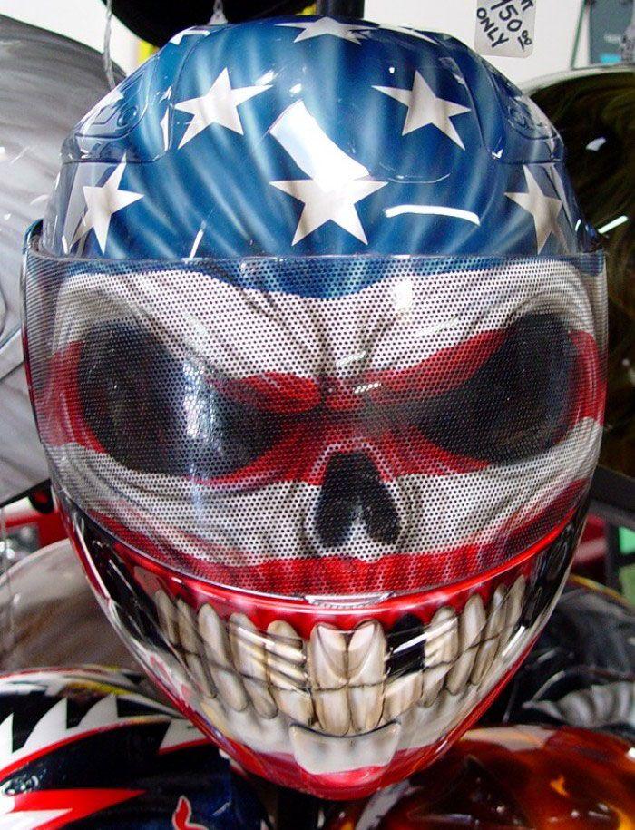 Custom Painted American Flag Skull Helmet