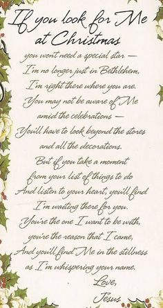 """thelordismylightandmysalvation: Poem """"If You Look for Me at Christmas"""" ♥"""