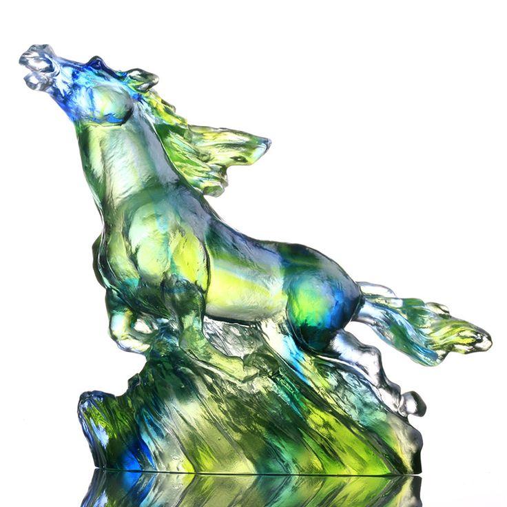 "Liuli Gong Fang (USA), ""The Frontrunner"" - Zodiac (Horse, Pride Leadership) | Deluxe Collectible Glass Art | Liuli Crystal Art"