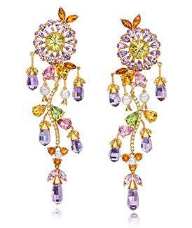 Lavender Sun Flower Drop Earrings