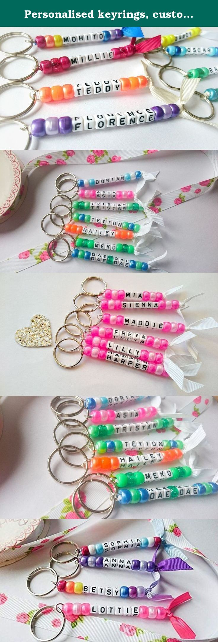 Personalised keyrings, custom keychain. Personalised keyrings/keychains Perfect for keys, school bags, kindergarten bags, nursery bags, hen night favors, party favors and so much more! A variety of colours are available and any name can be done. All keyrings are made from non-toxic beads that are sourced and made in the USA and UK. All materials used are non-toxic and to the highest quality.