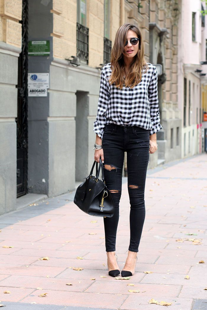 Fall / Winter - street chic style - black and white plaid shirt - gingham shirt + black ragged skinnies + black stilettos + black handbag + black sunglasses minus the holes in the pants. I can afford all the fabric now lol