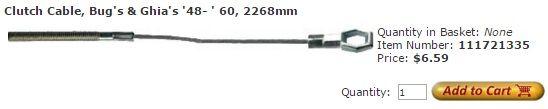 Clutch Cable, Bug's & Ghia's '48- ' 60, 2268mm Item Number: 111721335 Price: $6.59 This is your clutch cable on Bug's & Ghia's '48 to ' 60. It measures 2268mm. #aircooled #combi #1600cc #bug #kombilovers #kombi #vwbug #westfalia #VW #vwlove #vwporn #vwflat4 #vwtype2 #VWCAMPER #vwengine #vwlovers #volkswagen #type1 #type3 #slammed #safariwindow #bus #porsche #vwbug #type2 #23window #wheels #custom #vw #EISPARTS
