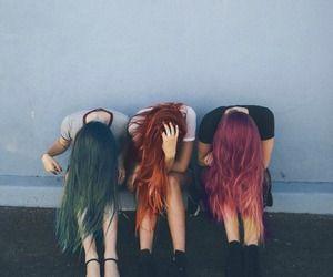 Hairstyle Trio de couleur, vert, orange et rose