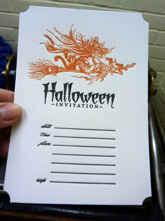 Letterpress Halloween Invitations by BiplanePress on Etsy, $45.00