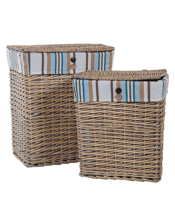 Natural & stripe wicker baskets set of 2 Sale - Meng