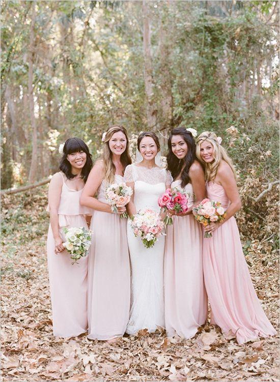 pale pink bridesmaids dresses in different styles #bridesmaids #bridesmaidsdresses #weddingchicks http://www.weddingchicks.com/2014/02/05/dos-pueblos-ranch-wedding-2/