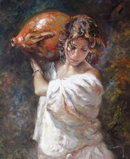 Jose Royo, A Media Luz, Oil on Canvas, 29 x 24 Russell Collection Fine Art Gallery :: Austin, Texas
