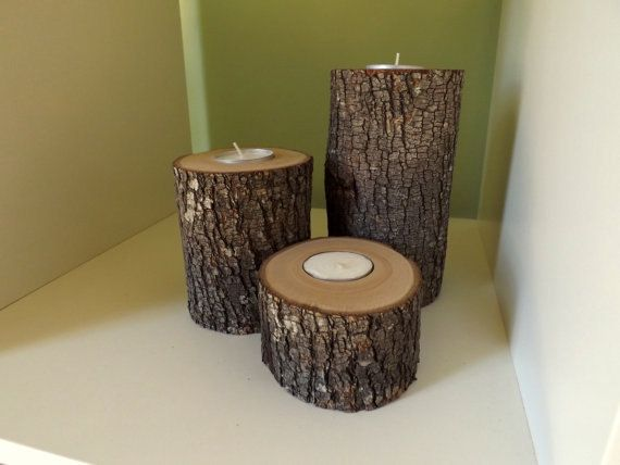 Handmade Natural Candle Holders Tree Branches by AgainstTheGrainNC, $15.00