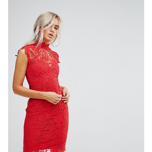 Paper Dolls Petite High Neck Crochet Lace Midi Dress (115 AUD) ❤ liked on Polyvore featuring dresses, petite, red, petite red dress, babydoll dresses, high-neck dress, red high neck dress and red body con dress