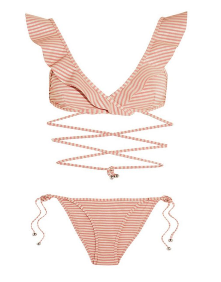Zimmermann's 'Caravan' bikini is a glamorous option  for your next warm-weather getaway. This antique-rose  and silver triangle design is accentuated by ruffles and  has universally flattering low-rise briefs.  We love how the top straps wrap and define the waist.   #Antique-Rose #Bikini #Brand #Chloe #EugeniaKim #Glamorous #Gradient #Gucci #Iphone6 #Sandals #Zimmerman