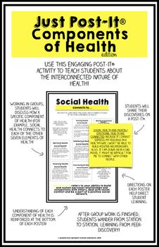 Component of Healths - Post-It® Activity... by Project School Wellness | Teachers Pay Teachers, middle school Health, middle school counselor, middle school PE