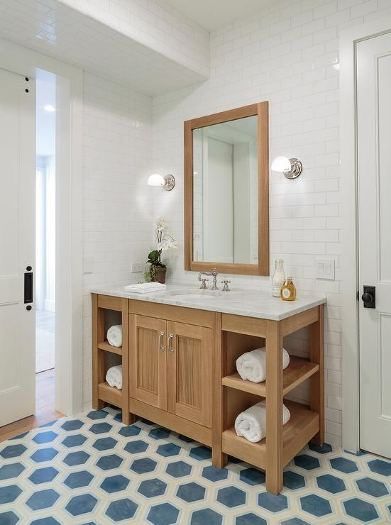 Clad in blue hexagon floor tiles  this gorgeous bathroom features a honey  stained washstand fitted. Top 25 ideas about Pretty Bathrooms on Pinterest   Wallpapers