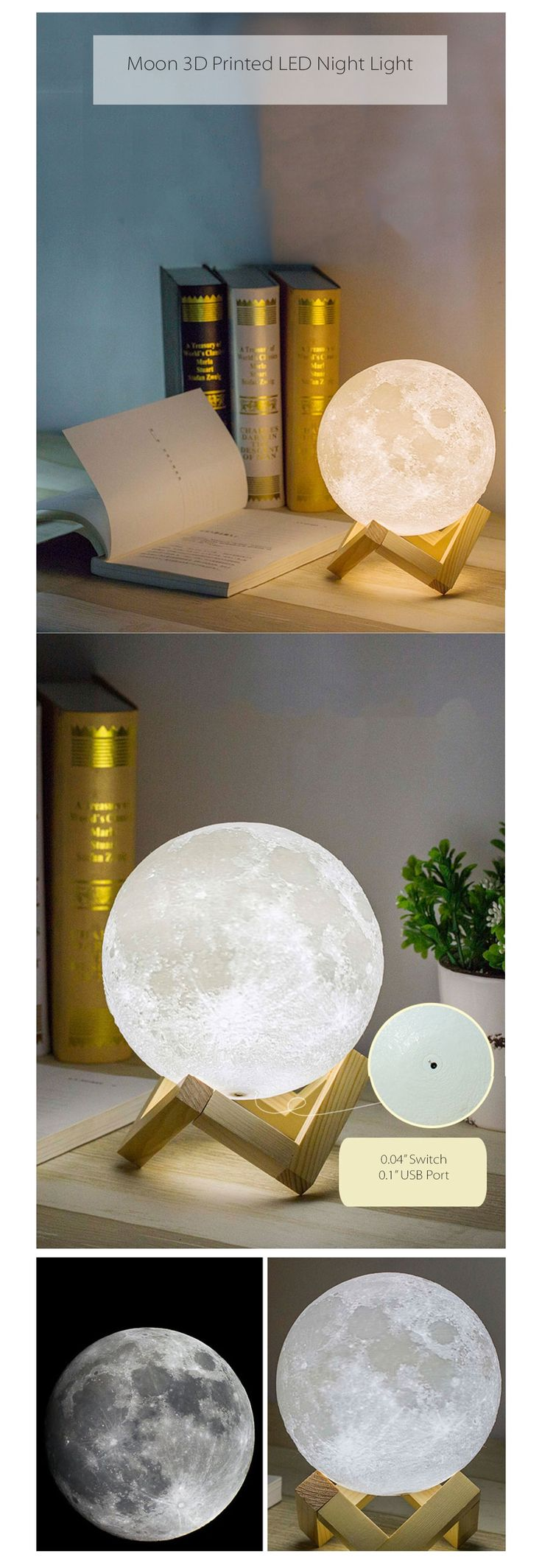 4.7 inche $48  Moon Light USB Charged Night Light