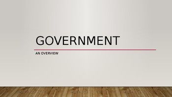 These powerpoint slides can be used for a first lecture of a high school government course. It is appropriate for the 12th grade level, and includes basic concepts of government is and how it functions. The information includes: * Definition of Government * 5 Functions of Government * Definition of Politics, Political Party, Single-Issue Party * Definition of Public Policy with examples * Definition of Democracy * 5 Functions of a Democracy (according to Traditional Democratic Theory)