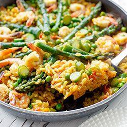 Paella ze szparagami i krewetkami | Kwestia Smaku