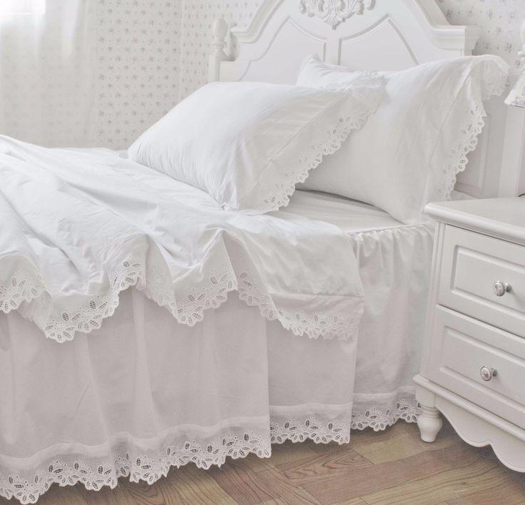 100%cotton solid color Korean satin princess ruffle bed ...