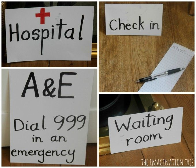 hospital signs for doctor role play games - great info on setting up role play activites and the learning that's going on