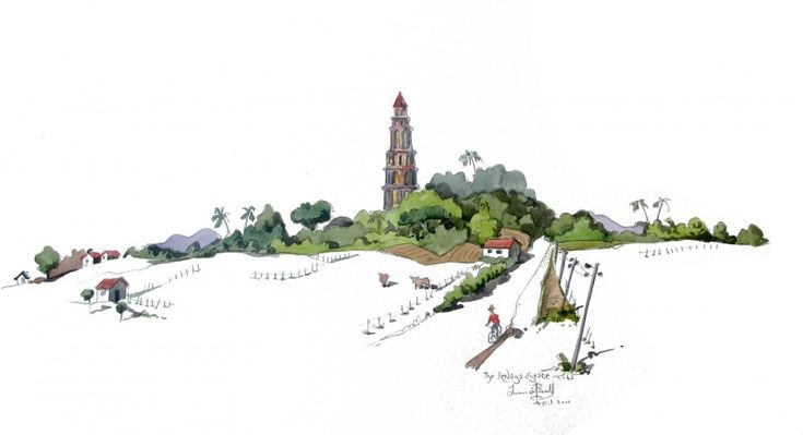 'A watercolour of The Izzagna Tower in Cuba' by Liam O'farrell - Fine Arts from United Kingdom