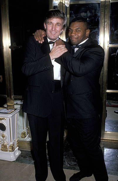Donald Trump and Mike Tyson during Annual March of Dimes Gourmet Gala at Plaza Hotel in New York City New York United States