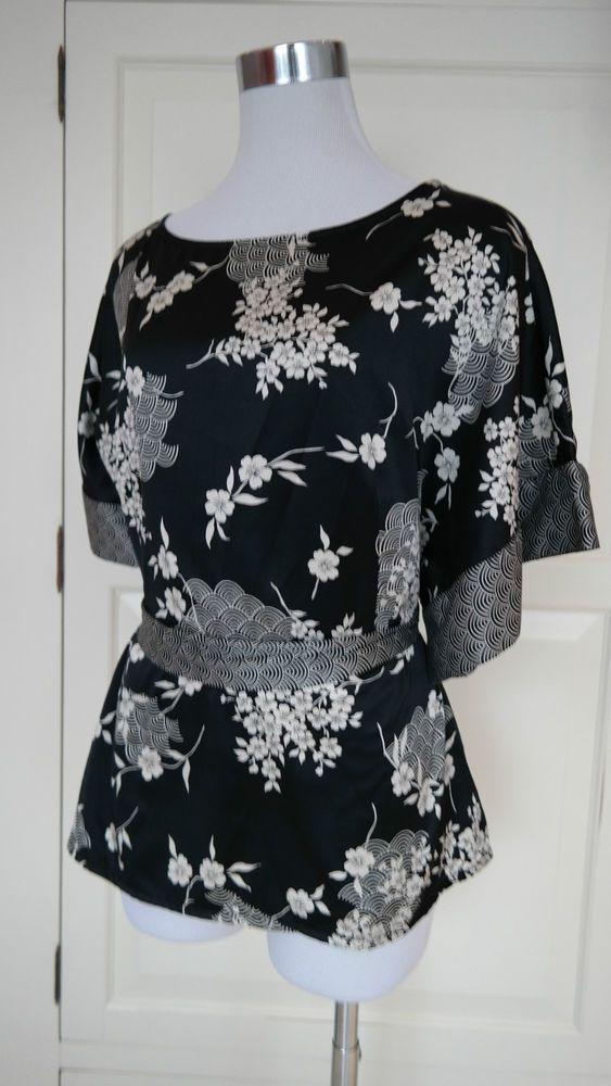 Xanaka Bluse China Style Schwarz Beige Blumen Muster Gr.38