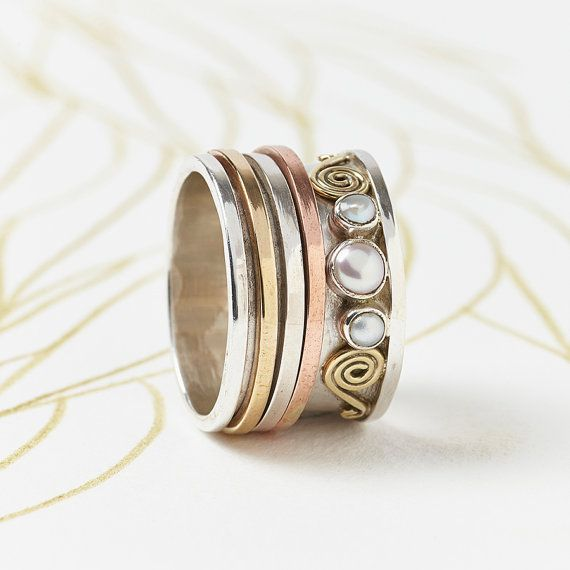 Chunky Spinning argent perle anneau anneau de par CharlottesWebEtsy