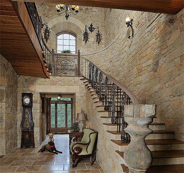 Country Home Foyers : Stone walled foyer in texas hill country style home
