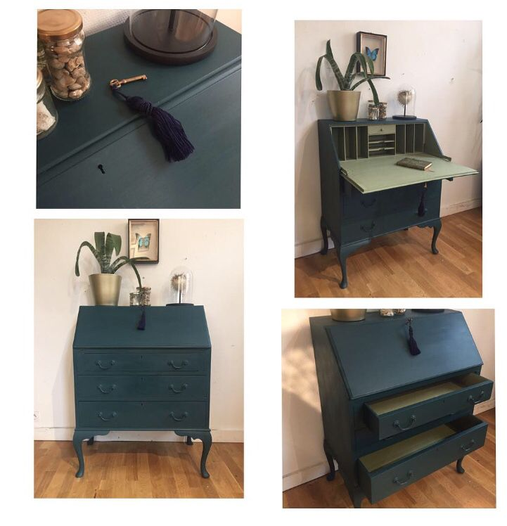 Secretaire Ancien Anglais Relooke En Bleu Petrole Et Vert Amande Restauration De Meubles Anciens Mobilier De Salon Relooking Meuble
