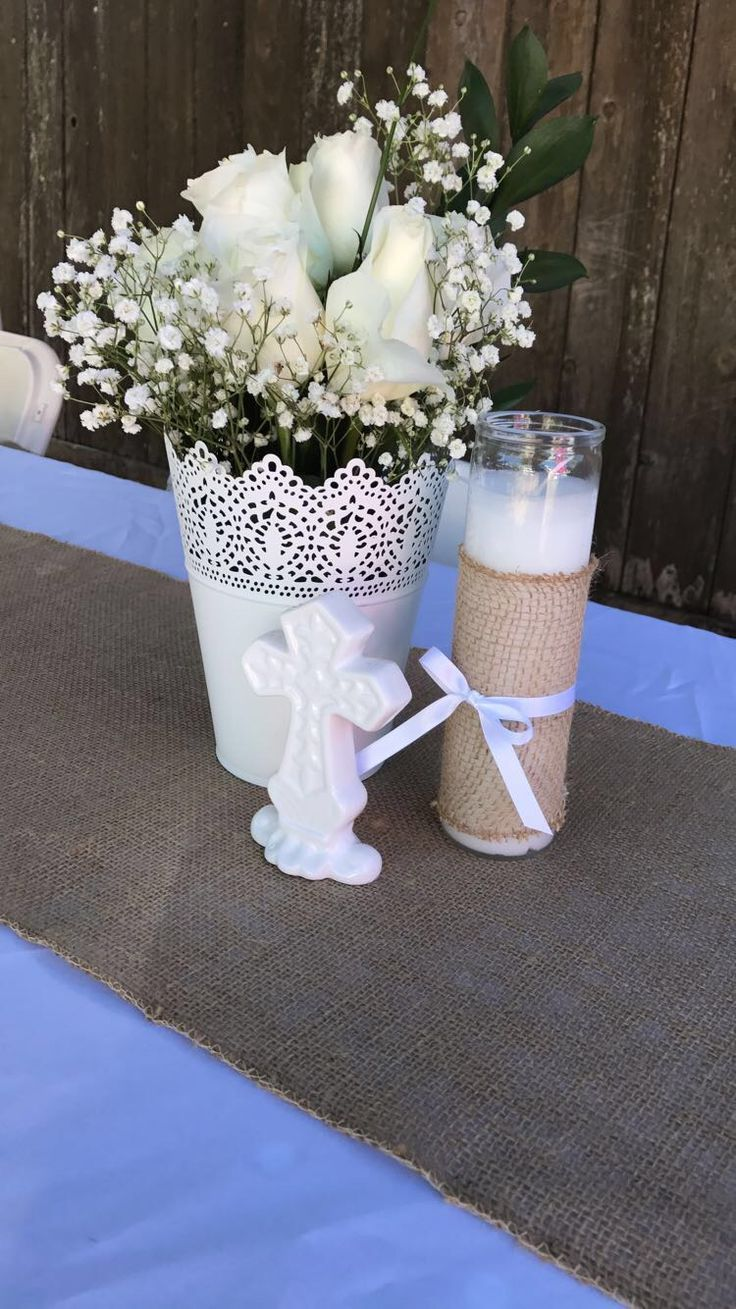 Swell Burlap Themed Centerpieces For Baby Girls Baptism Baptism Home Interior And Landscaping Oversignezvosmurscom