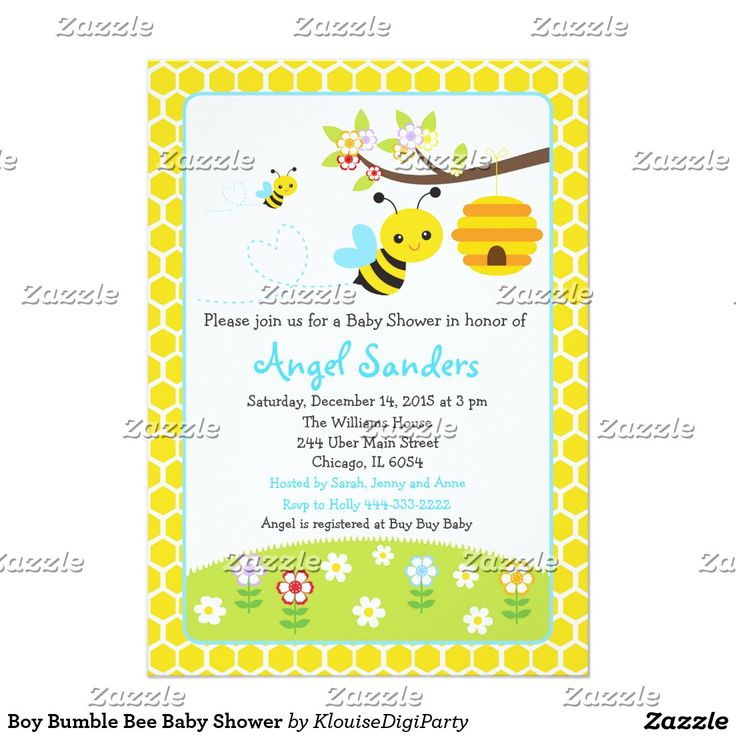 Boy Bumble Bee Baby Shower Card