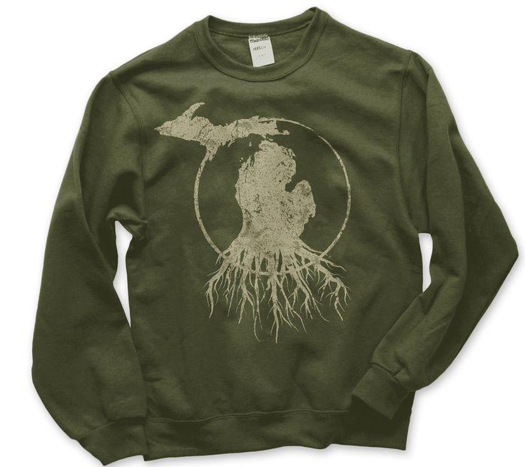 Crew Neck Michigan Roots Logo Sweatshirt - Military Green