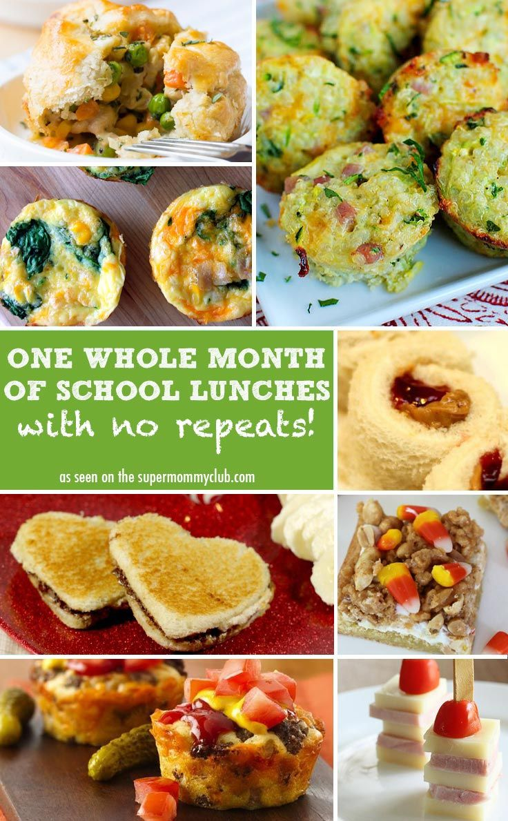 One whole months of school lunch ideas - with no repeats!