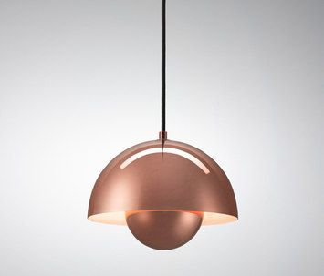 The wonderful new solid copper version of Verner Panton's FlowerPot from &tradition.