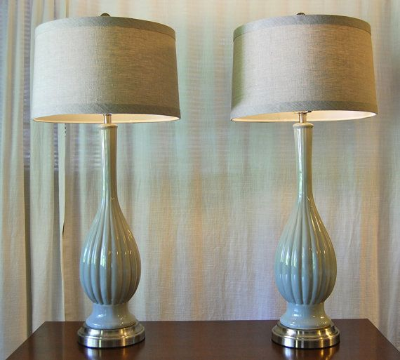 set of 2 buffet lamps cordless pair of pale smoke gray ceramic buffet