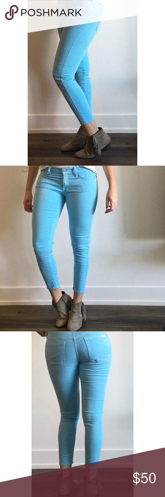 7 For All Mankind 'The Cropped Skinny' Jeans 7 For All Mankind 'The Cropped Skinny' Jeans in a beautiful sky blue denim. Crop is versatile and looks great with booties, flats or heels with an ankle strap. SIZE: 28. In great condition! Open to offers! 7 for all Mankind Jeans