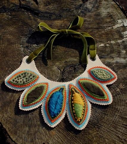 Fiber art jewelry from Tinytoadstool