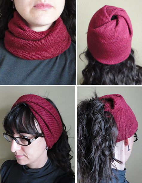 Free Knitting Pattern for Strange Loop - This recipe for a versatlie twisted loop can be worn many different ways. It can be worn as a cowl or pushed up on the head as a headband. Arrange the twists at one end, this can be worn as a hat or as a wide headband with a hole to create a messy bun or ponytail hat. Designed by Morgen Dämmerung. Available in English and Russian. Pictured project by loopysue